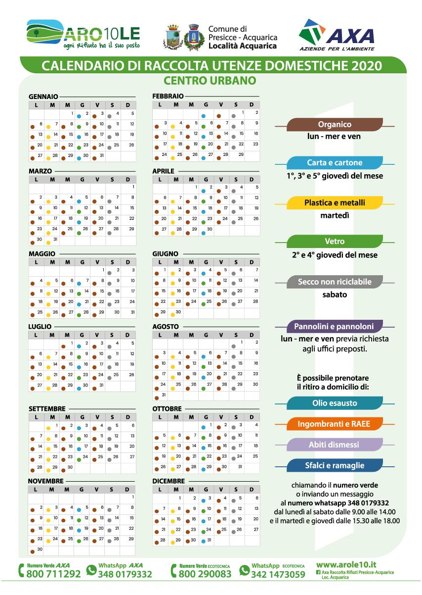 AROLe10 Calendario di conferimenti delle utenze domestiche della località di Acquarica per il centro urbano