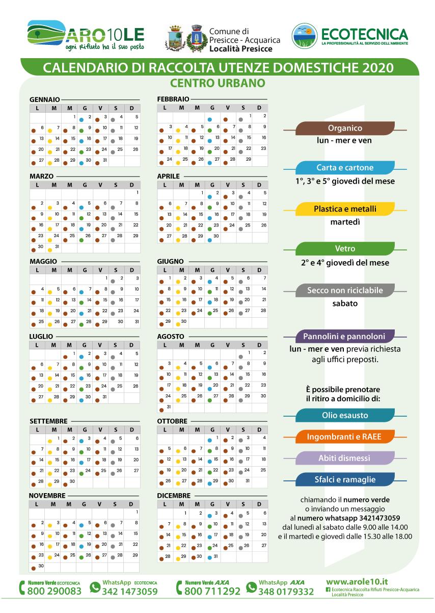 Calendario di raccolta utenze domestiche della località Presicce per il centro urbano